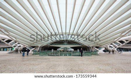 LISBON, PORTUGAL - JANUARY 4, 2014: Interior of Oriente Station. This Station was designed by Santiago Calatrava for the Expo '98 world's fair.  - stock photo