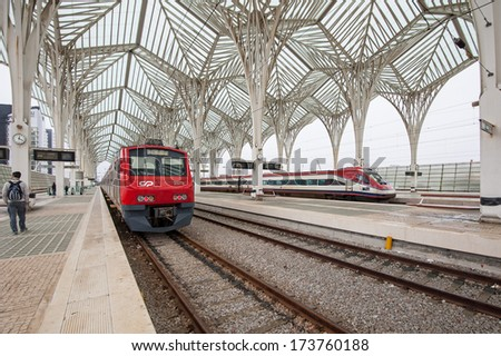 LISBON, PORTUGAL - JANUARY 4, 2014: Interior of Oriente Station. This Station was designed by Santiago Calatrava for the Expo '98 world's fair.