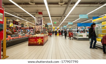 LISBON, PORTUGAL - JANUARY 2, 2014: Vasco da Gama Supermarket. Situated in the Park of the Nations in Lisbon, the building is part of a large project by Santiago Calatrava.  - stock photo