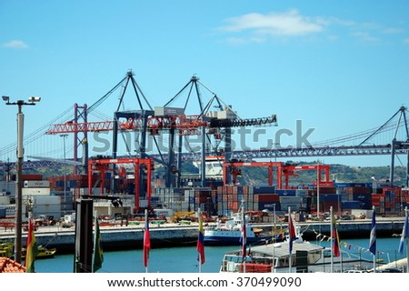 LISBON, PORTUGAL - JULY 7, 2011 - Cargo terminal in seaport in Lisbon, Portugal