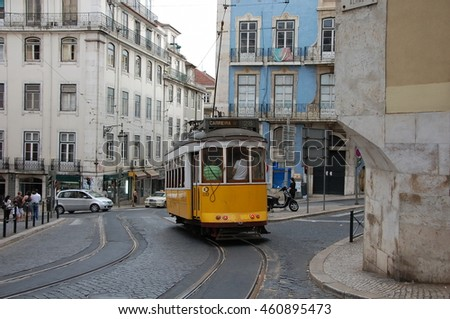 LISBON, PORTUGAL - JULY 11, 2011 - Famous tram number 28 in Lisbon, Portugal