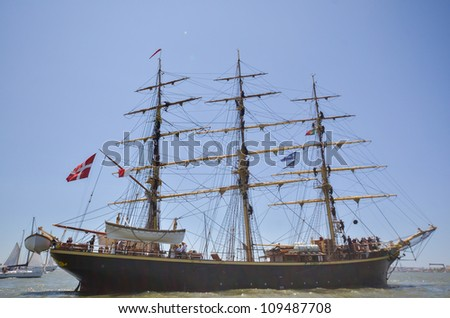 "LISBON, PORTUGAL - JULY 22: ""Georg Stage"" in action during The Tall Ships races July 22, 2012 in Lisbon, Portugal"