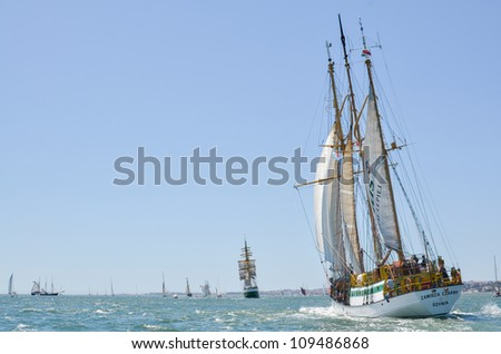 "LISBON, PORTUGAL - JULY 22: ""Zawisza czarny"" in action during The Tall Ships races July 22, 2012 in Lisbon, Portugal"