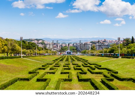 LISBON, PORTUGAL - JUN 20, 2014: Afonso de Albuquerque Square, Belem District, Portugal. Lisbon is the westernmost large city Europe and the seventh-most-visited city in Southern Europe