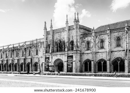LISBON, PORTUGAL - JUN 20, 2014:  Jeronimos Monastery or Hieronymites Monastery in Lisbon, Portugal. It a UNESCO World Heritage site