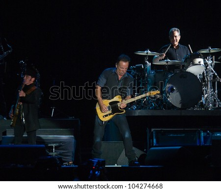 LISBON, PORTUGAL - JUNE 3:  Bruce Springsteen  & the E Street Band performing on stage in day 5 of Rock in Rio Lisboa June 3, 2012 in Lisbon, Portugal