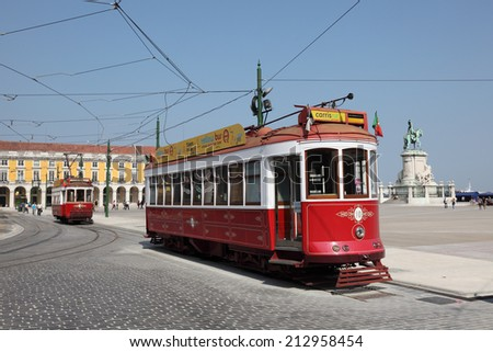 LISBON, PORTUGAL - JUNE 26: Historic tramway on Commerce Square in Lisbon. June 26, 2010 in Lisbon, Portugal