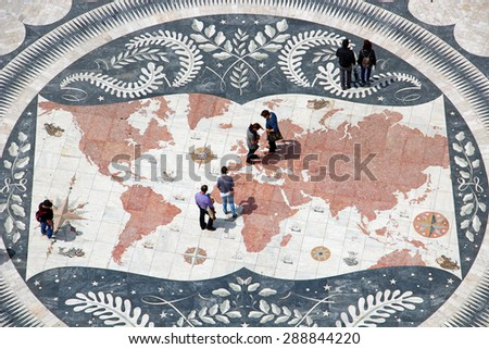LISBON, PORTUGAL - JUNE 10, 2013: Mosaic map viewed from the top of the Monument to Discoveries in Belem - stock photo