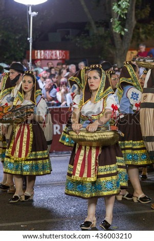 LISBON, PORTUGAL - 12 june 2016, night parade Marchas Populares, carnaval districts of city