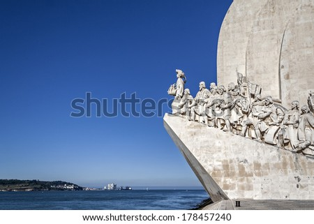 Lisbon, Portugal - June 30, 2013: Padrao dos Descobrimentos (Sea Discoveries Monument) with a view of the Tagus River and Atlantic Ocean. Belem District, Lisbon, Portugal