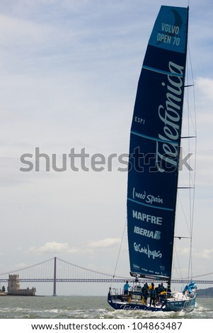 LISBON, PORTUGAL - JUNE 9: Team Telefonica in Volvo Ocean Race - Lisbon StopOver  - Harbour Race June 9, 2012 in Lisbon, Portugal