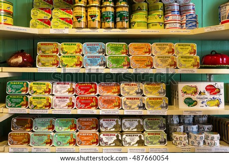 Lisbon, Portugal, 2016 05 09 - many sorts of canned fish in the shop in Lisbon, local product