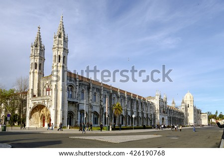 Lisbon, Portugal - March 19 , 2016: Jeronimos Monastery, a monastery of the Order of Saint Jerome located near the shore of the parish of Belem, in the Lisbon Municipality, Portugal. - stock photo