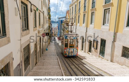 LISBON, PORTUGAL- MARCH 23, 2013: Lisbon's Gloria funicular classified in Bairro Alto in Lisbon, Portugal
