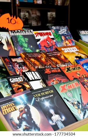Lisbon, Portugal. May 30, 2013: Comic Books of several Marvel Super-Heroes, in the Lisbon Book Fair organized at Eduardo VII Park. - stock photo