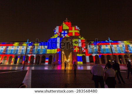 LISBON, PORTUGAL - MAY 27, 2015: Lisboa City of the Sea is a multimedia spectacle in Praca de Comercio Lisbon, Portugal. - stock photo