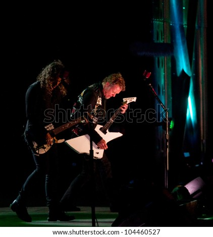 LISBON, PORTUGAL - MAY 25: Metallica performing on stage in day 1 of Rock in Rio Lisboa May 25, 2012 in Lisbon, Portugal