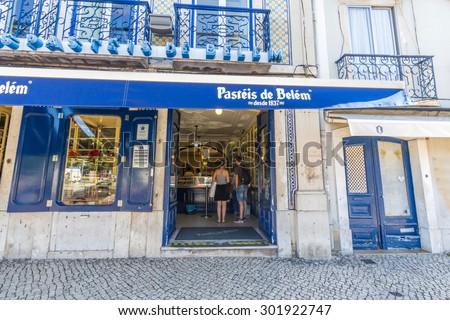 LISBON, PORTUGAL - MAY 26, 2015: The famous Pasteis de Belem, Egg Custard Tart, pastry shop in Lisbon. Over 20.000 tarts are sold daily.