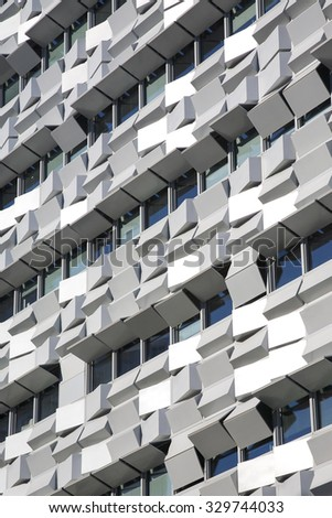 LISBON, PORTUGAL, NOVEMBER 28: Details of contemporary offices building, located in the Parque das Nacoes, which was the exhibition grounds for the Expo '98 in Lisbon. Portugal 2011