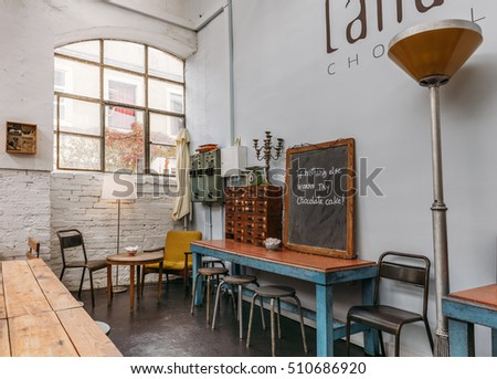 LISBON, PORTUGAL - NOVEMBER 2: fragment of Landeau Chocolate in LX-Factory complex, Lisbon, Portugal on November 2, 2016. According to some tourist guides, they serve best chocolate cake in the city.