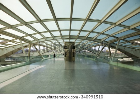 LISBON, PORTUGAL, NOVEMBER 28: Interior of Oriente Station, located in the Parque das Nacoes, the former exhibition grounds for the Expo '98 in Lisbon. Designed by Calatrava. Portugal 2011