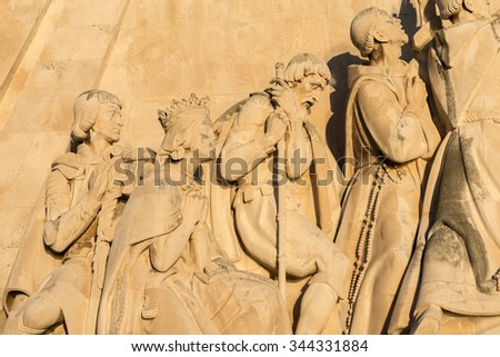 Lisbon, Portugal - November 24, 2015: The Monument to the Discoveries with Henry the Navigator, Vasco da Gama and many other explorers on the shore of the Tagus River in Lisbon.