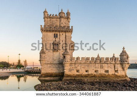 Lisbon, Portugal - November 24, 2015: The Tower of St. Vincent, also known as Belem Tower, on the Tagus River. It is a UNESCO World Heritage Site dating from the early 16th Century.