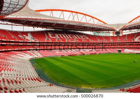 LISBON, PORTUGAL - OCT 17, 2016: Emirates logo on the tribune at the Estadio da Luz (Stadium of Light), home stadium for the S.L. Benfica. It was built for the EURO 2004
