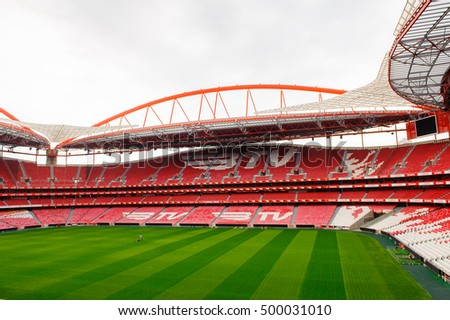 LISBON, PORTUGAL - OCT 17, 2016: Panorama of the Estadio da Luz (Stadium of Light), home stadium for the S.L. Benfica. It was built for the EURO 2004