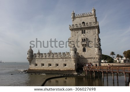 LISBON, PORTUGAL - OCTOBER 24 2014: Belem Tower of Lisbon, Unesco world heritage, with people on the bridge