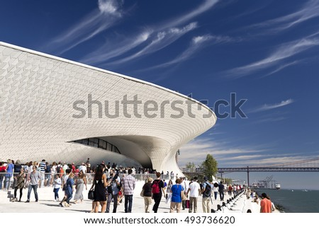 LISBON, PORTUGAL - October 5, 2016: Crowd at the opening of the world newest museum, the MAAT (Museum of Art, Architecture and Technology) in Lisbon, Portugal