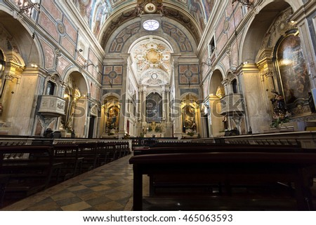 LISBON, PORTUGAL - October 22, 2015: Interior of the Baroque style Church of the Most Holy Sacrament on October 22, 2015 in Lisbon, Portugal