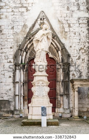 Lisbon, Portugal - 12. October 2015. Interiors of the Carmo Convent in Lisbon, ruined by the earthquake