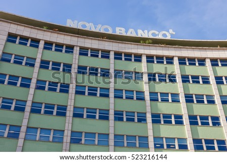 Lisbon, Portugal - October 19, 2016: Novo Banco Bank located in the Marques de Pombal Square. A bank created after the Espirito Santo Bank scandal.