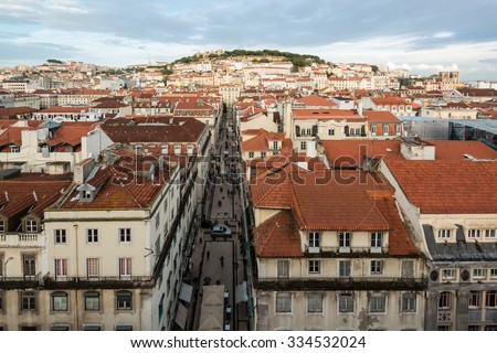 LISBON, PORTUGAL - OCTOBER 18, 2015: The beautiful colorful and vibrant cityscape of Lisbon, the capital of Portugal on the evening a sunny autumn day. - stock photo