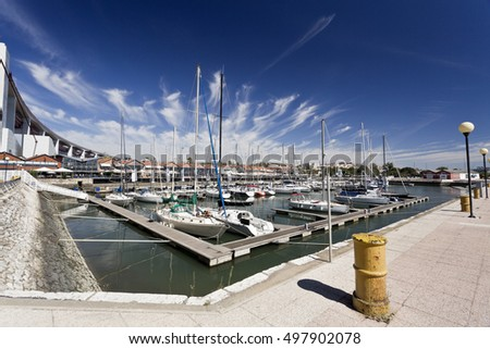 LISBON, PORTUGAL - October 5, 2016: View of the marina near the docks in Lisbon, Portugal