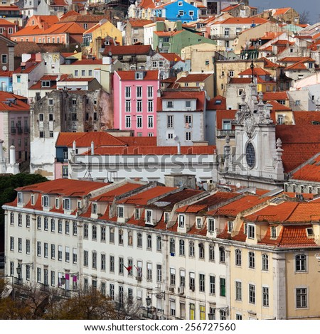Lisbon, Portugal, old houses in historic city centre. - stock photo