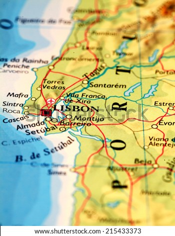 Lisbon Map Stock Images RoyaltyFree Images Vectors Shutterstock - Portugal on map