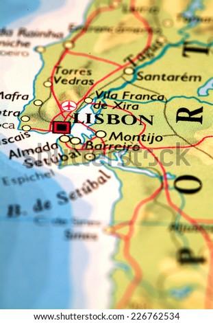Lisbon Portugal,  on atlas world map - stock photo