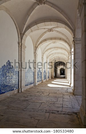 Lisbon, Portugal - September 15, 2013: Cloister of Sao Vicente de Fora Monastery in white limestone. Very important monument in Lisbon, Portugal. 17th century Mannerism