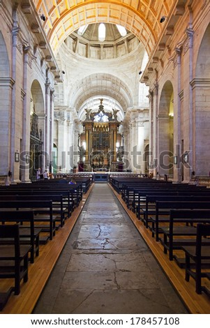 Lisbon, Portugal -  September 15, 2013: Nave and altar of the church of the Sao Vicente de Fora Monastery. 17th century Mannerism