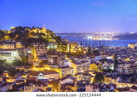 Lisbon, Portugal skyline at Sao Jorge Castle. - stock photo