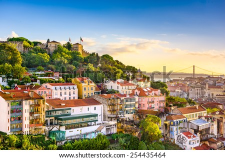 Lisbon, Portugal skyline at Sao Jorge Castle in the afternoon. - stock photo