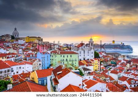 Lisbon, Portugal sunrise skyline at Alfama District. - stock photo