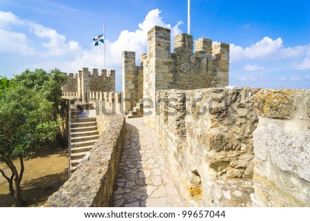 Lisbon, Portugal, The Castelo de Sao Jorge - stock photo