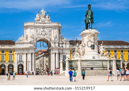 Lisbon, Portugal. The Rua Augusta Arch is a stone, triumphal arch-like, historical building and visitor attraction in Lisbon, Portugal, on Commerce Square. Taken on 2015/08/30