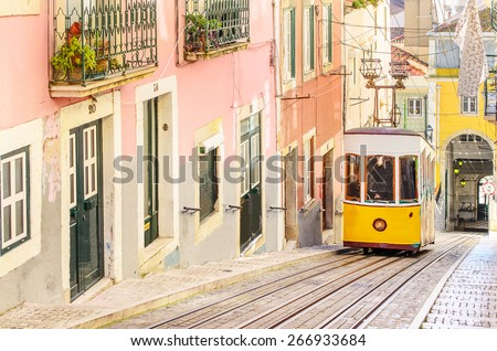 Lisbon's Gloria funicular classified in Bairro Alto in Lisbon, Portugal - stock photo