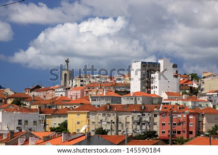 Lisbon seen from the Tagus River - stock photo