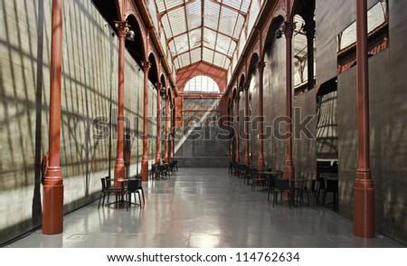 Lisbon shopping arcade, detail of an empty corridor - stock photo
