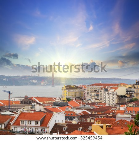Lisbon skyline at sunset.  Portugal . Travel background - stock photo